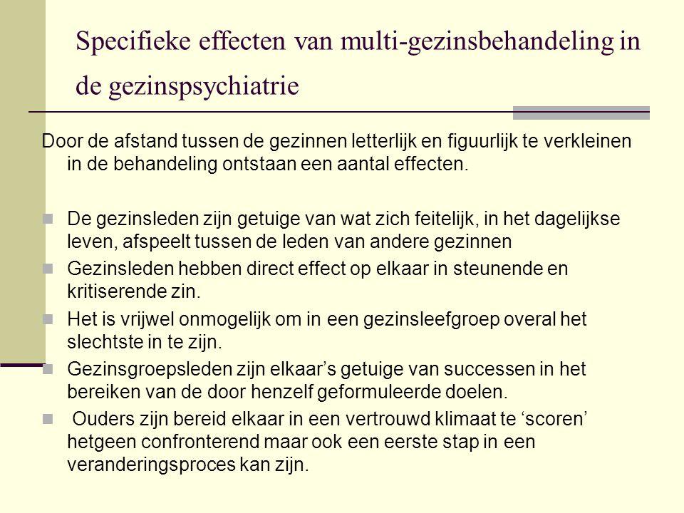 Specifieke effecten van multi-gezinsbehandeling in de gezinspsychiatrie Door de afstand tussen de gezinnen letterlijk en figuurlijk te verkleinen in de behandeling ontstaan een aantal effecten.