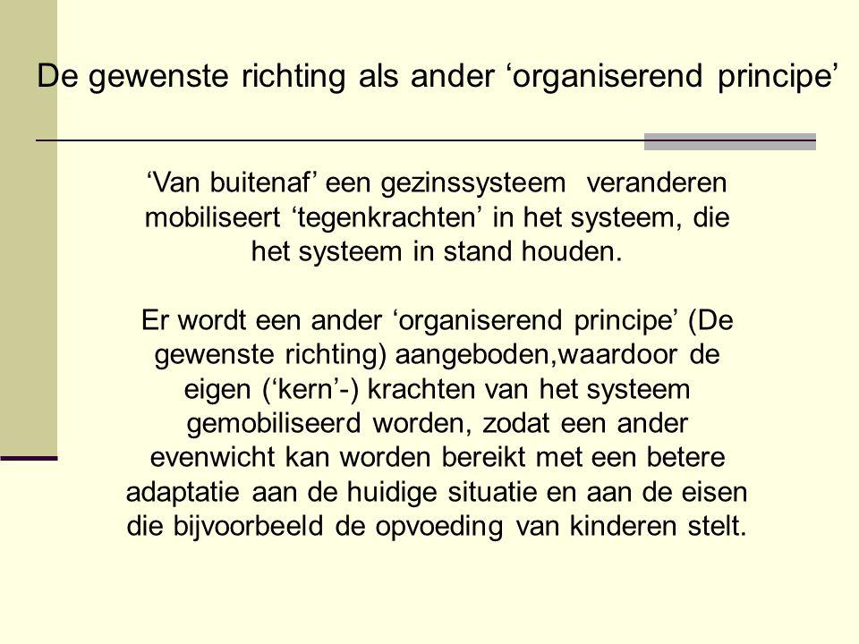 'Van buitenaf' een gezinssysteem veranderen mobiliseert 'tegenkrachten' in het systeem, die het systeem in stand houden. Er wordt een ander 'organiser