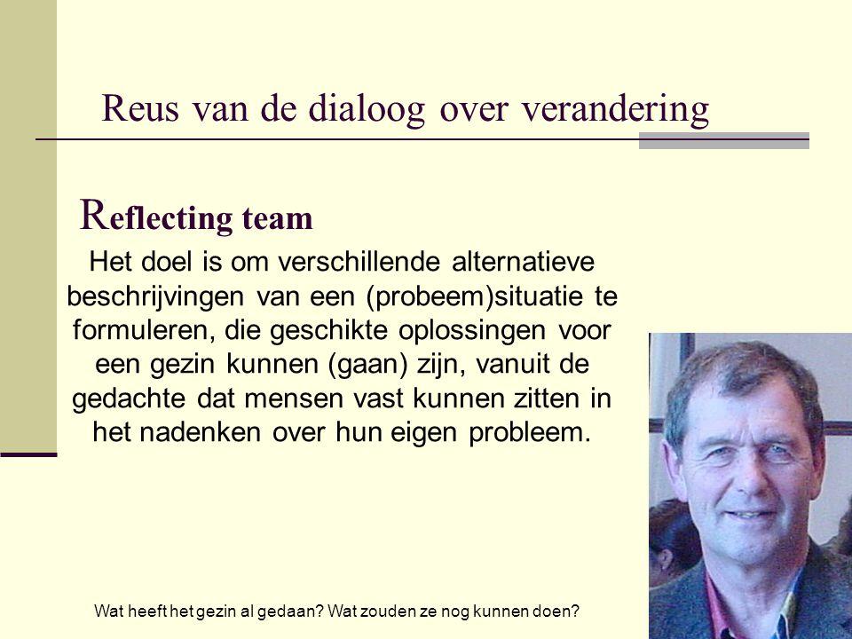 Reus van de dialoog over verandering R eflecting team Het doel is om verschillende alternatieve beschrijvingen van een (probeem)situatie te formuleren, die geschikte oplossingen voor een gezin kunnen (gaan) zijn, vanuit de gedachte dat mensen vast kunnen zitten in het nadenken over hun eigen probleem.