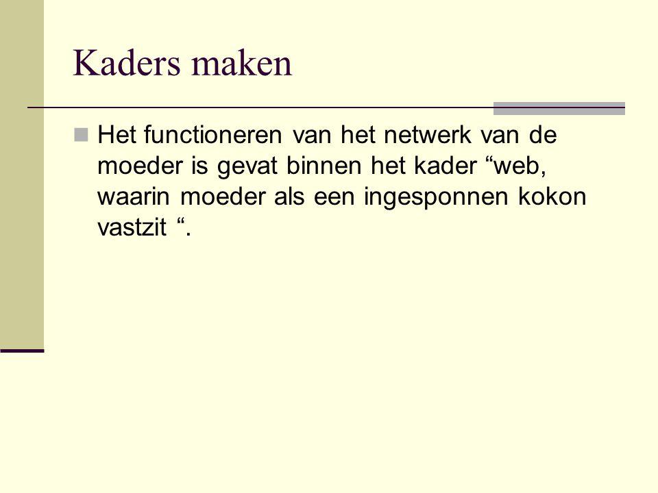 """Kaders maken Het functioneren van het netwerk van de moeder is gevat binnen het kader """"web, waarin moeder als een ingesponnen kokon vastzit """"."""