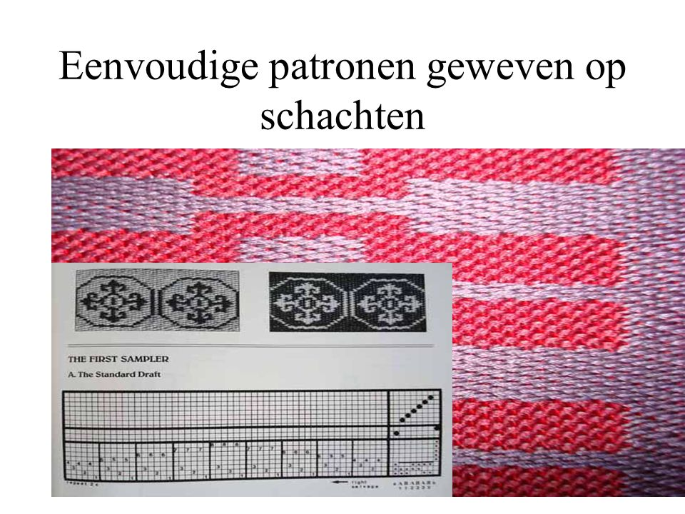 Complex patroon geweven met handmatige patroonselectie of trekstoel