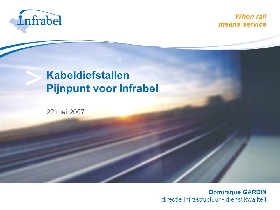 When rail means service > Kabeldiefstallen Pijnpunt voor Infrabel 22 mei 2007 Dominique GARDIN directie Infrastructuur - dienst kwaliteit