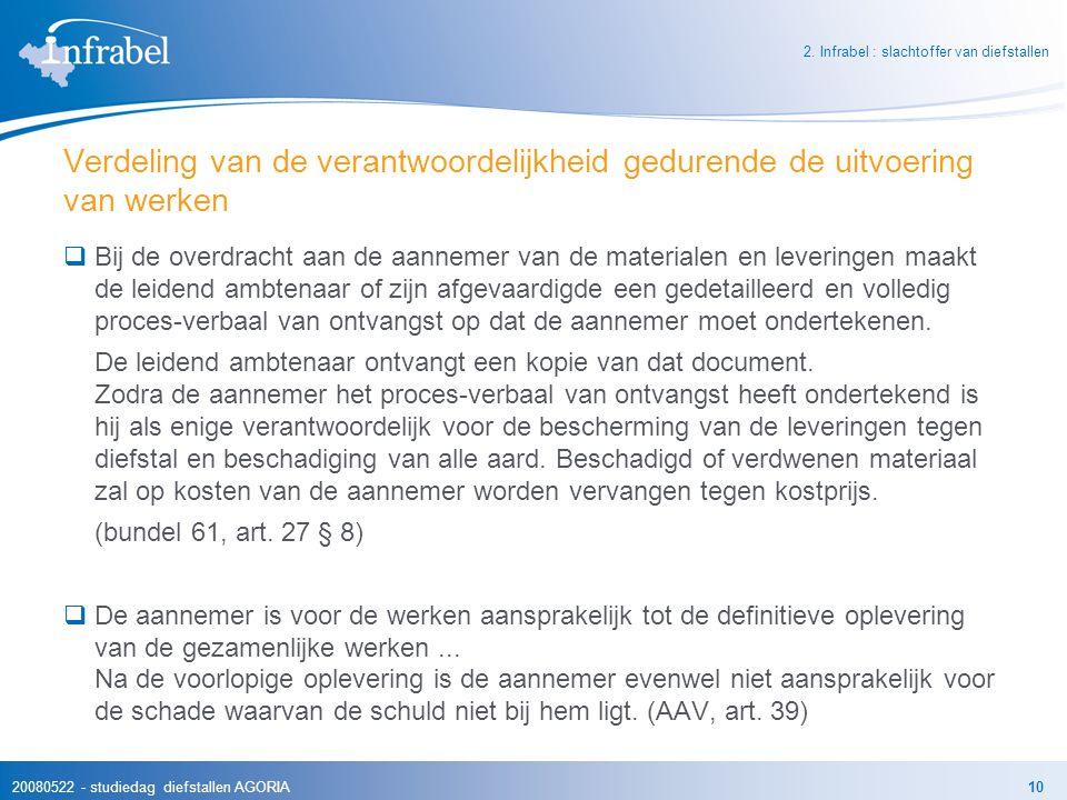 20080522 - studiedag diefstallen AGORIA10 Verdeling van de verantwoordelijkheid gedurende de uitvoering van werken  Bij de overdracht aan de aannemer