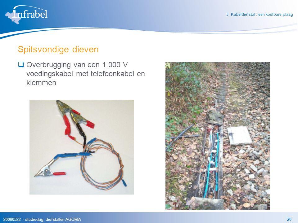 20080522 - studiedag diefstallen AGORIA20 Spitsvondige dieven  Overbrugging van een 1.000 V voedingskabel met telefoonkabel en klemmen 3. Kabeldiefst