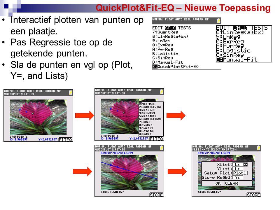 QuickPlot&Fit-EQ – Nieuwe Toepassing Interactief plotten van punten op een plaatje. Pas Regressie toe op de getekende punten. Sla de punten en vgl op
