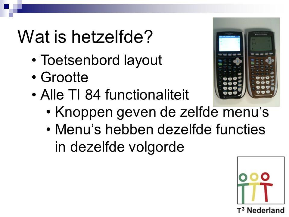 Wat is hetzelfde? Toetsenbord layout Grootte Alle TI 84 functionaliteit Knoppen geven de zelfde menu's Menu's hebben dezelfde functies in dezelfde vol