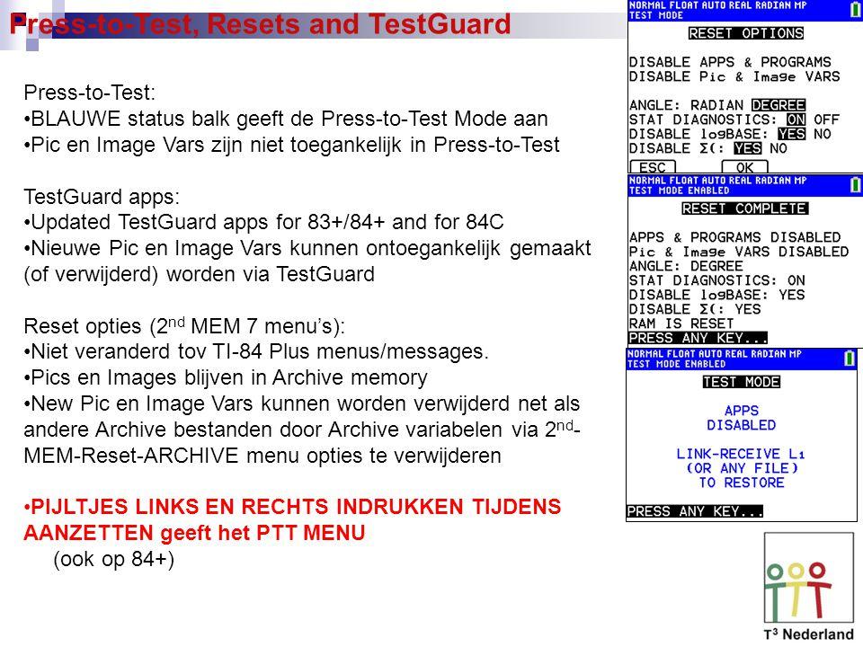 Press-to-Test, Resets and TestGuard Press-to-Test: BLAUWE status balk geeft de Press-to-Test Mode aan Pic en Image Vars zijn niet toegankelijk in Pres