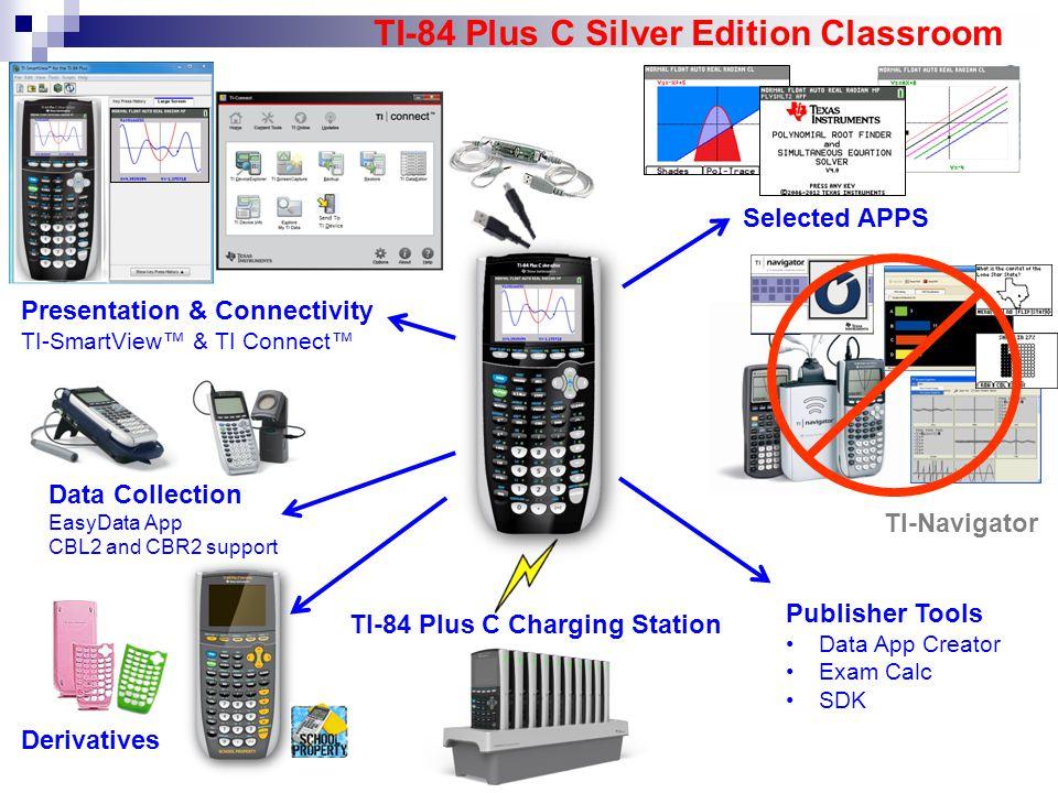 TI-84 Plus C Charging Station TI-84 Plus C Silver Edition Classroom Presentation & Connectivity TI-SmartView™ & TI Connect™ TI-Navigator Publisher Too
