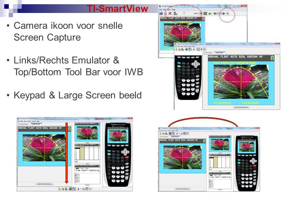 Camera ikoon voor snelle Screen Capture Links/Rechts Emulator & Top/Bottom Tool Bar voor IWB Keypad & Large Screen beeld TI-SmartView