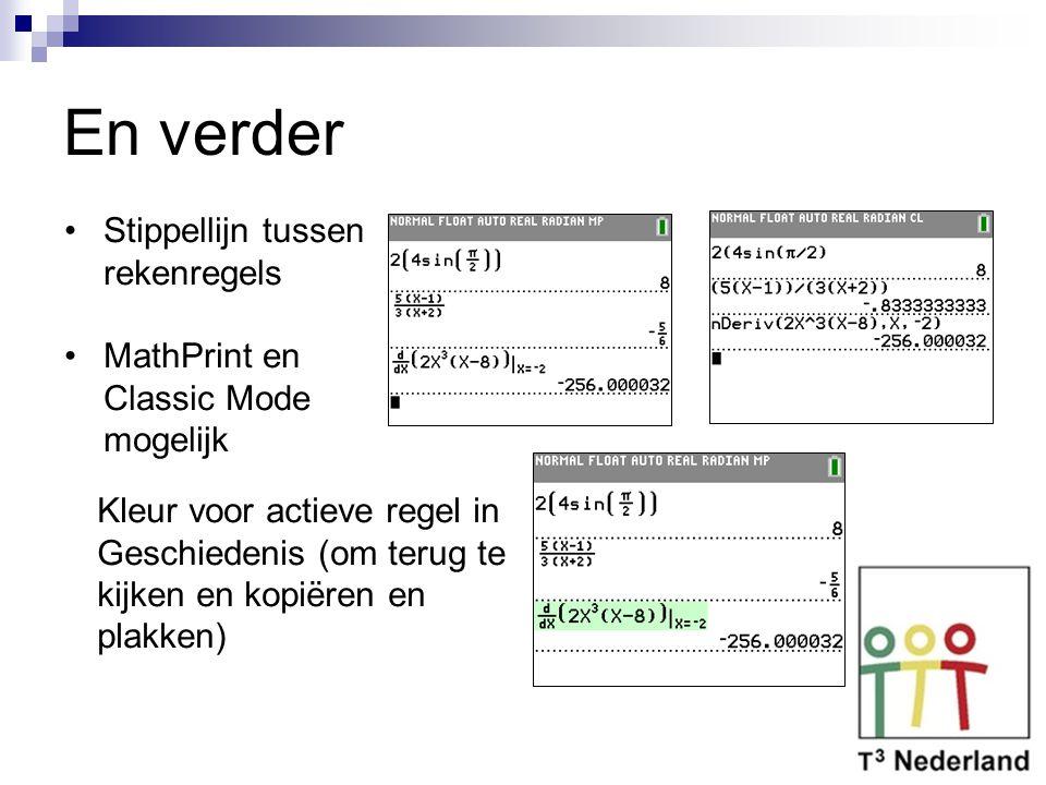Menus en Statusregel MATH menu Extra letters: CPLX voor complex (was CPX), PROB voor kansen FRAC menu (was ALPHA- F1) MODE settings altijd zichtbaar Batterij-indicator Bezig aanduiding Symbolen voor ALPHA en 2 nd