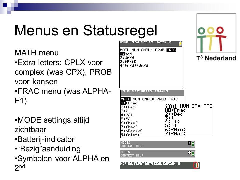 Menus en Statusregel MATH menu Extra letters: CPLX voor complex (was CPX), PROB voor kansen FRAC menu (was ALPHA- F1) MODE settings altijd zichtbaar B