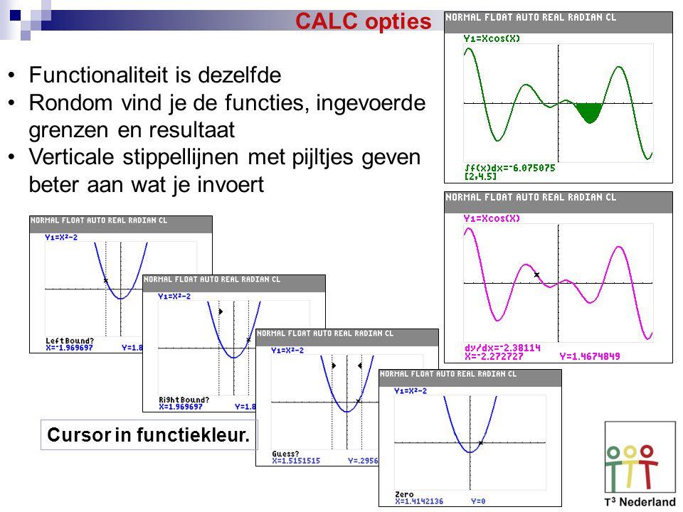 CALC opties Functionaliteit is dezelfde Rondom vind je de functies, ingevoerde grenzen en resultaat Verticale stippellijnen met pijltjes geven beter aan wat je invoert Cursor in functiekleur.