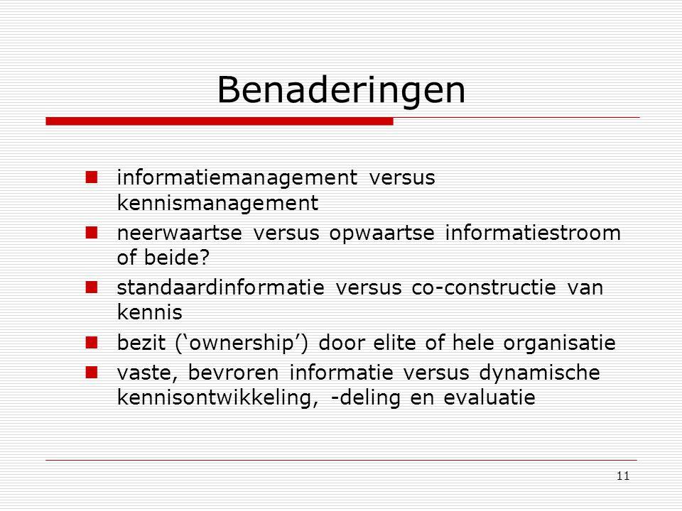 11 Benaderingen informatiemanagement versus kennismanagement neerwaartse versus opwaartse informatiestroom of beide? standaardinformatie versus co-con