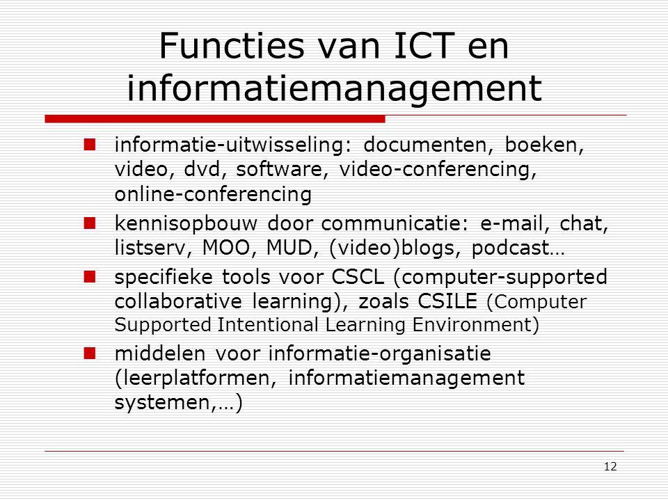 12 Functies van ICT en informatiemanagement informatie-uitwisseling: documenten, boeken, video, dvd, software, video-conferencing, online-conferencing