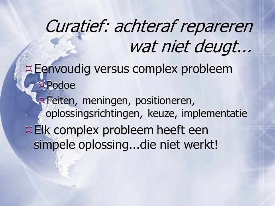 Curatief: achteraf repareren wat niet deugt...  Eenvoudig versus complex probleem  Podoe  Feiten, meningen, positioneren, oplossingsrichtingen, keu