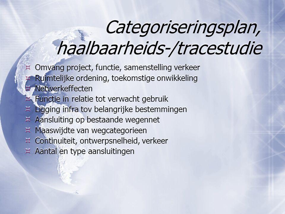 Categoriseringsplan, haalbaarheids-/tracestudie  Omvang project, functie, samenstelling verkeer  Ruimtelijke ordening, toekomstige onwikkeling  Net