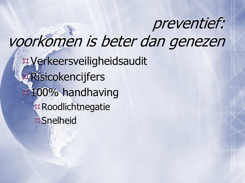 preventief: voorkomen is beter dan genezen  Verkeersveiligheidsaudit  Risicokencijfers  100% handhaving  Roodlichtnegatie  Snelheid  Verkeersvei