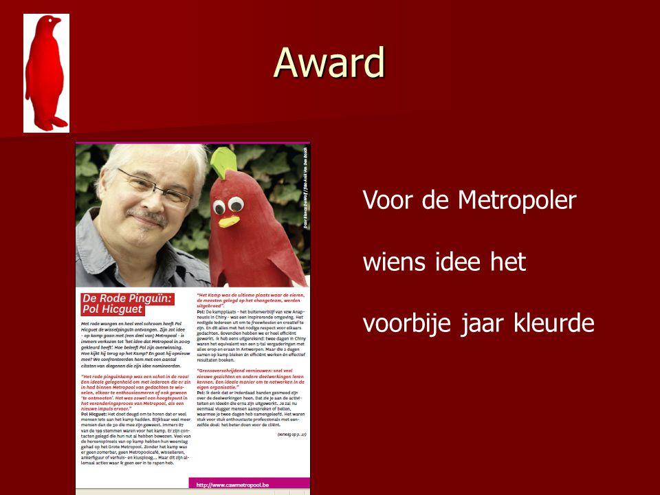 Award Voor de Metropoler wiens idee het voorbije jaar kleurde