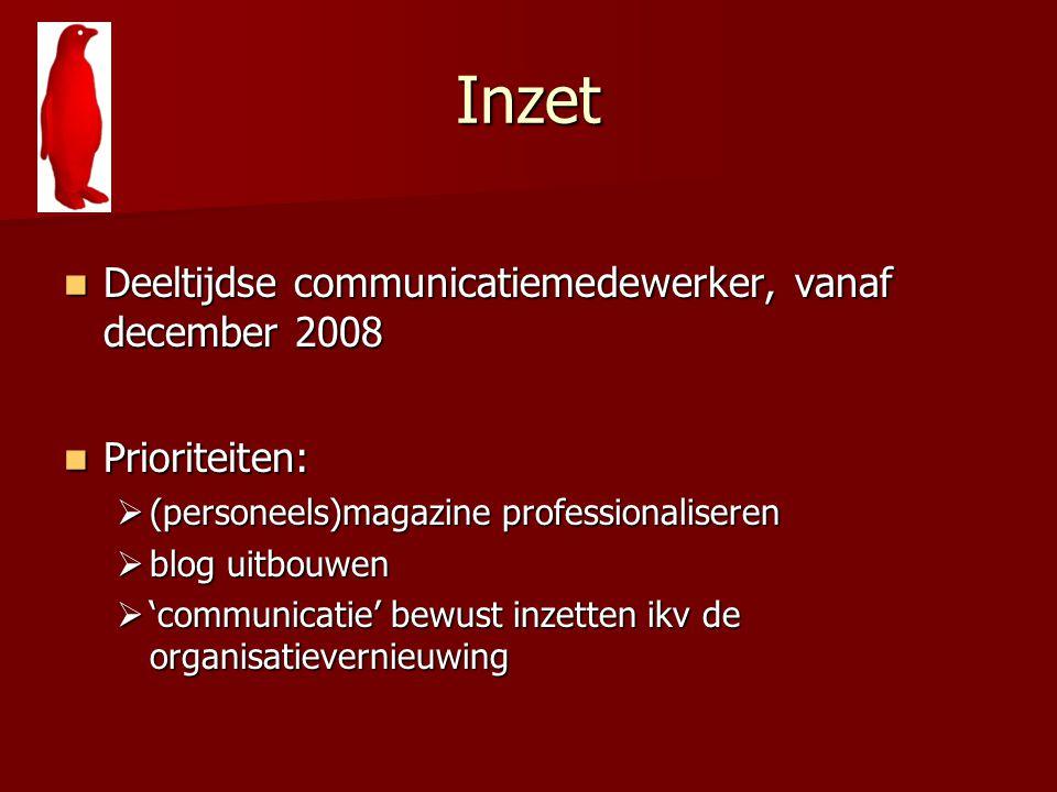 Inzet Deeltijdse communicatiemedewerker, vanaf december 2008 Deeltijdse communicatiemedewerker, vanaf december 2008 Prioriteiten: Prioriteiten:  (per