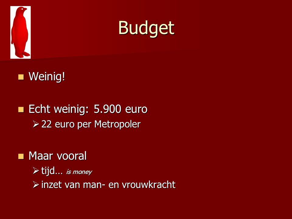 Budget Weinig! Weinig! Echt weinig: 5.900 euro Echt weinig: 5.900 euro  22 euro per Metropoler Maar vooral Maar vooral  tijd… is money  inzet van m
