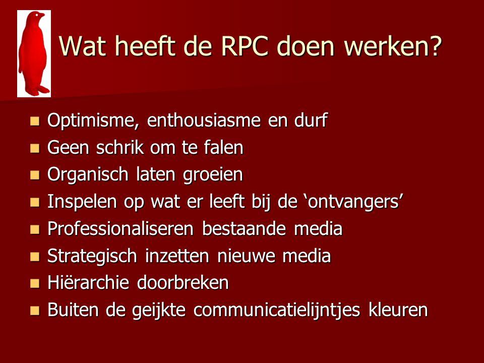Wat heeft de RPC doen werken? Wat heeft de RPC doen werken? Optimisme, enthousiasme en durf Optimisme, enthousiasme en durf Geen schrik om te falen Ge