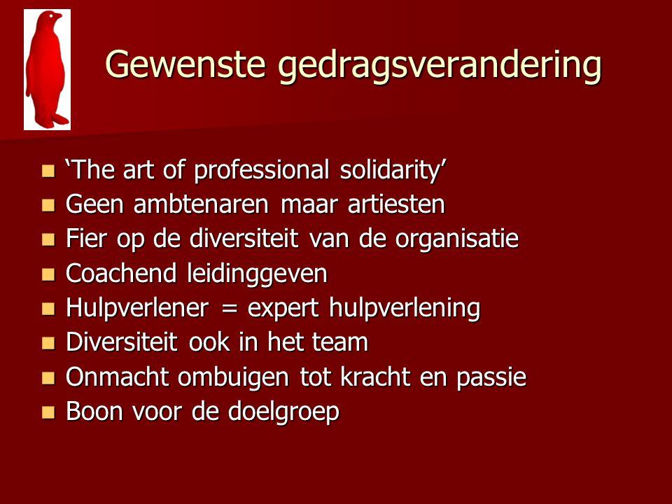 Gewenste gedragsverandering Gewenste gedragsverandering 'The art of professional solidarity' 'The art of professional solidarity' Geen ambtenaren maar