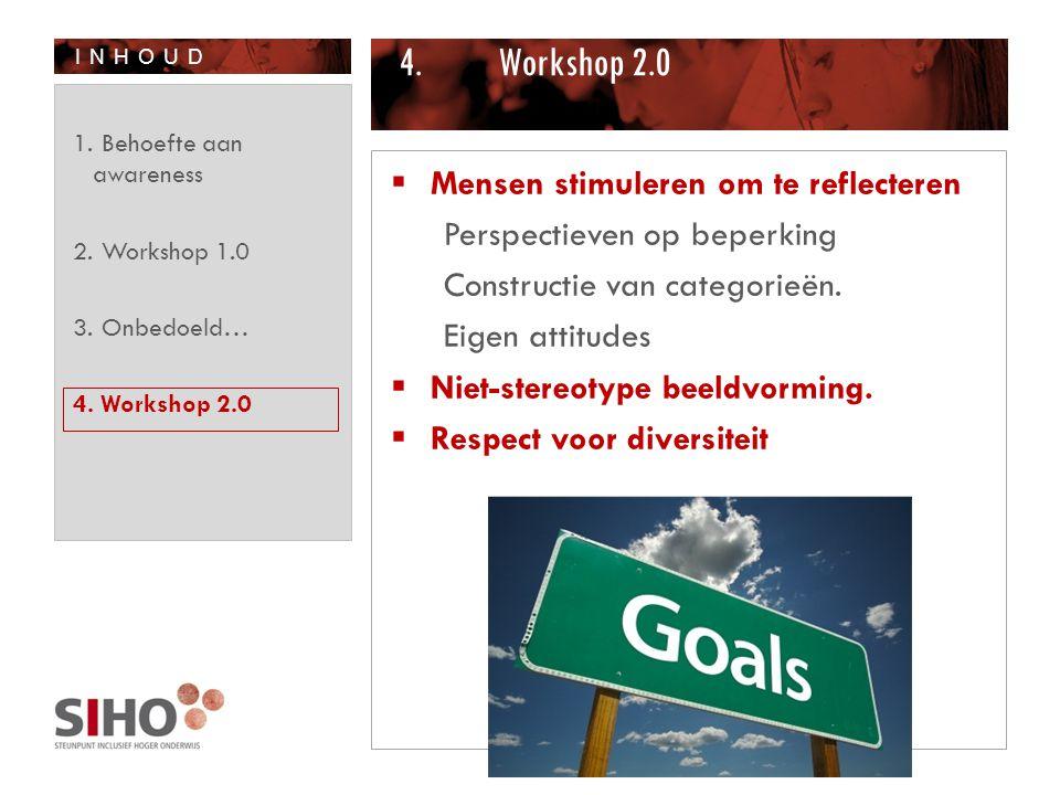 INHOUD 4.Workshop 2.0  Mensen stimuleren om te reflecteren Perspectieven op beperking Constructie van categorieën. Eigen attitudes  Niet-stereotype