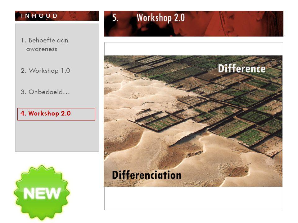 INHOUD 5.Workshop 2.0 1. Behoefte aan awareness 2. Workshop 1.0 3. Onbedoeld… 4. Workshop 2.0 Difference Differenciation