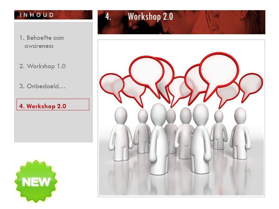 INHOUD 4.Workshop 2.0 1. Behoefte aan awareness 2. Workshop 1.0 3. Onbedoeld… 4. Workshop 2.0