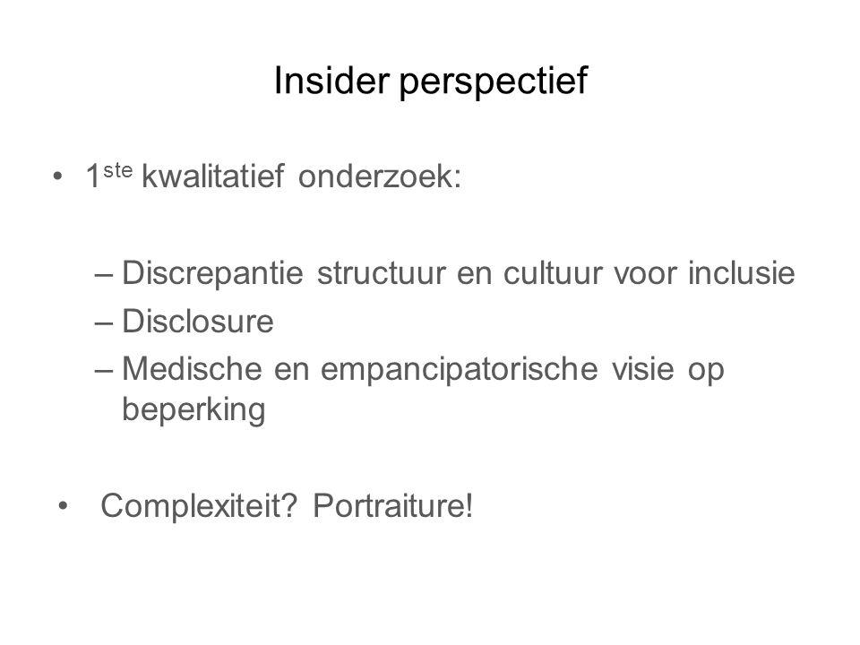 Insider perspectief 1 ste kwalitatief onderzoek: –Discrepantie structuur en cultuur voor inclusie –Disclosure –Medische en empancipatorische visie op beperking Complexiteit.
