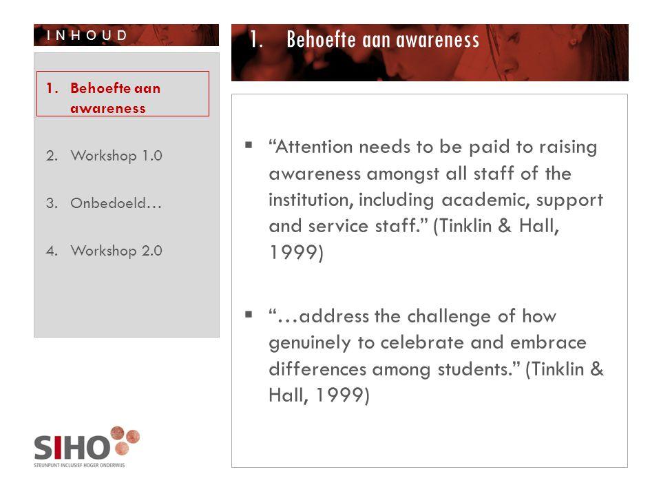 INHOUD 4.Workshop 2.0 1. Behoefte aan awareness 2. Workshop 1.0 3. Onbedoeld… 4. Workshop 2.0