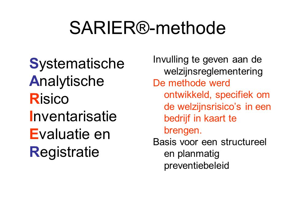 SARIER®-methode Systematische Analytische Risico Inventarisatie Evaluatie en Registratie Invulling te geven aan de welzijnsreglementering De methode w