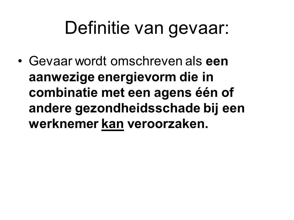 Definitie van gevaar: Gevaar wordt omschreven als een aanwezige energievorm die in combinatie met een agens één of andere gezondheidsschade bij een we