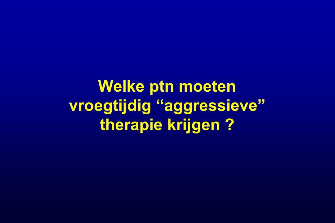 Welke ptn moeten vroegtijdig aggressieve therapie krijgen ?