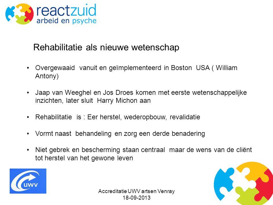 Accreditatie UWV artsen Venray 18-09-2013 Rehabilitatie als nieuwe wetenschap Overgewaaid vanuit en geïmplementeerd in Boston USA ( William Antony) Ja