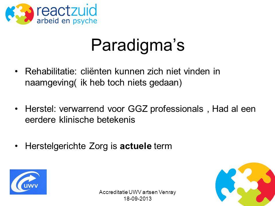 Paradigma's Rehabilitatie: cliënten kunnen zich niet vinden in naamgeving( ik heb toch niets gedaan) Herstel: verwarrend voor GGZ professionals, Had a