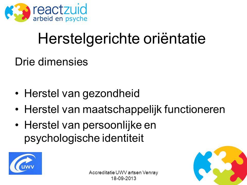 Herstelgerichte oriëntatie Drie dimensies Herstel van gezondheid Herstel van maatschappelijk functioneren Herstel van persoonlijke en psychologische identiteit Accreditatie UWV artsen Venray 18-09-2013