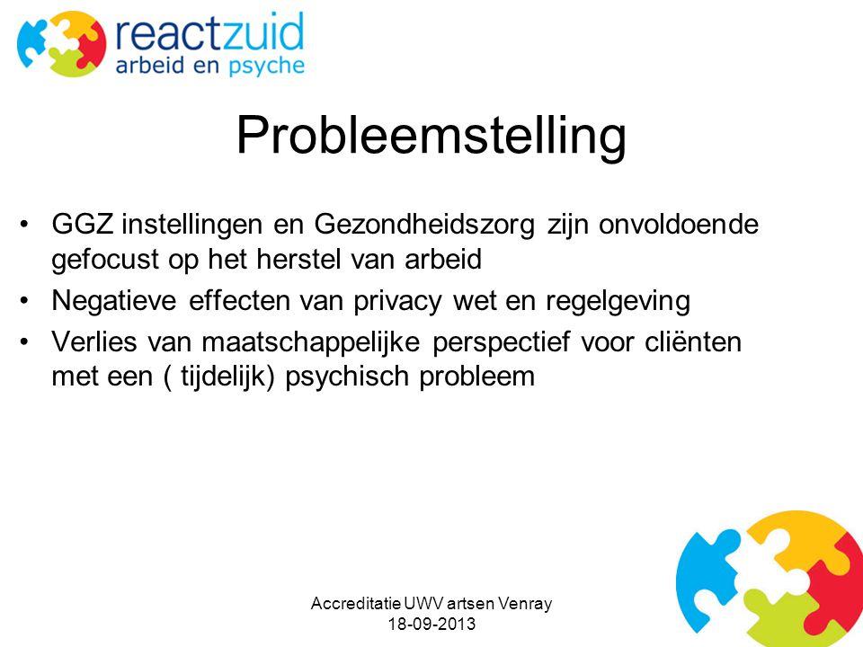 Probleemstelling GGZ instellingen en Gezondheidszorg zijn onvoldoende gefocust op het herstel van arbeid Negatieve effecten van privacy wet en regelgeving Verlies van maatschappelijke perspectief voor cliënten met een ( tijdelijk) psychisch probleem Accreditatie UWV artsen Venray 18-09-2013