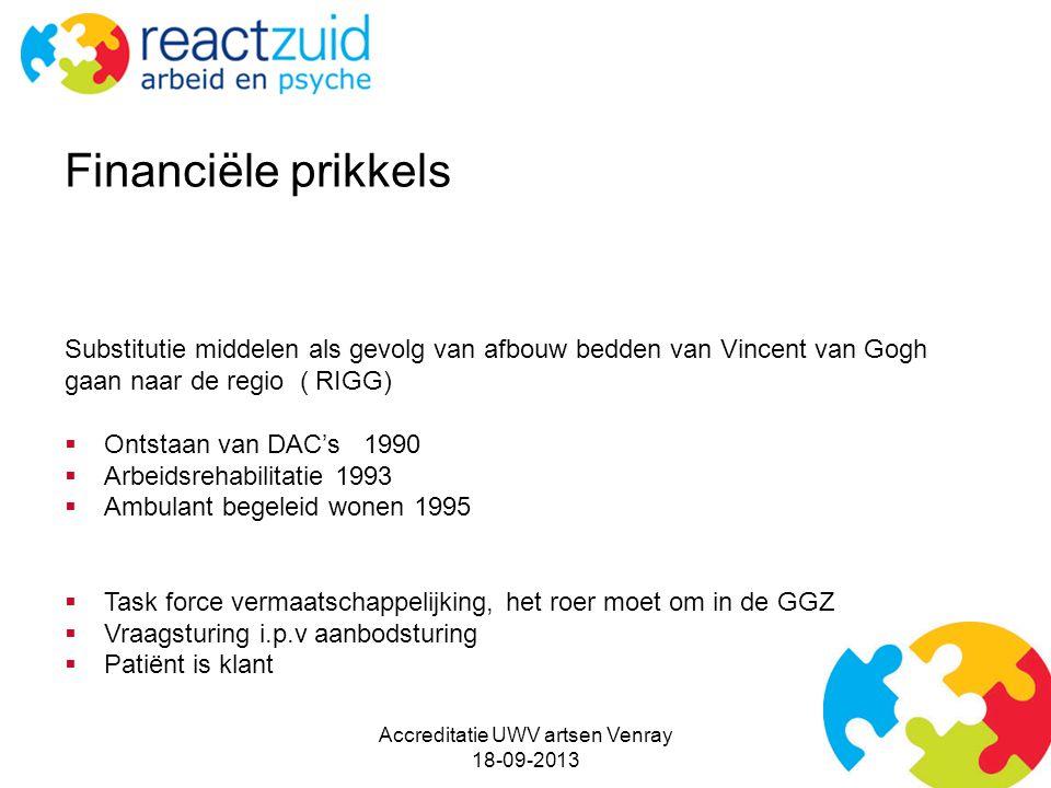 Substitutie middelen als gevolg van afbouw bedden van Vincent van Gogh gaan naar de regio ( RIGG)  Ontstaan van DAC's 1990  Arbeidsrehabilitatie 199