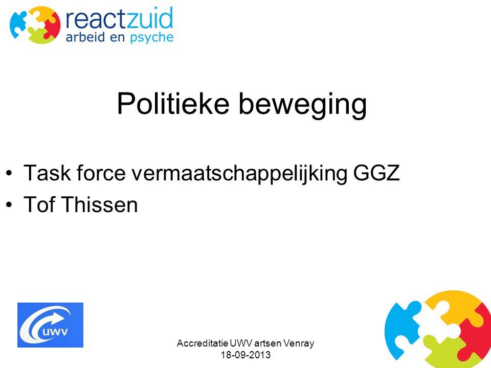 Politieke beweging Task force vermaatschappelijking GGZ Tof Thissen Accreditatie UWV artsen Venray 18-09-2013