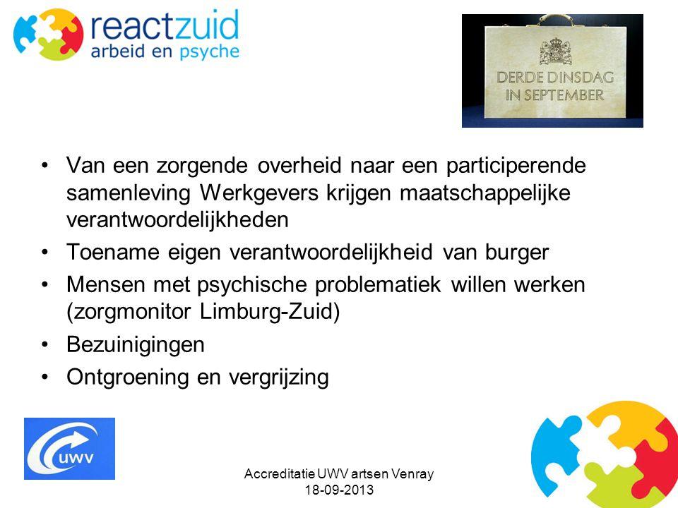 Accreditatie UWV artsen Venray 18-09-2013 Van een zorgende overheid naar een participerende samenleving Werkgevers krijgen maatschappelijke verantwoor