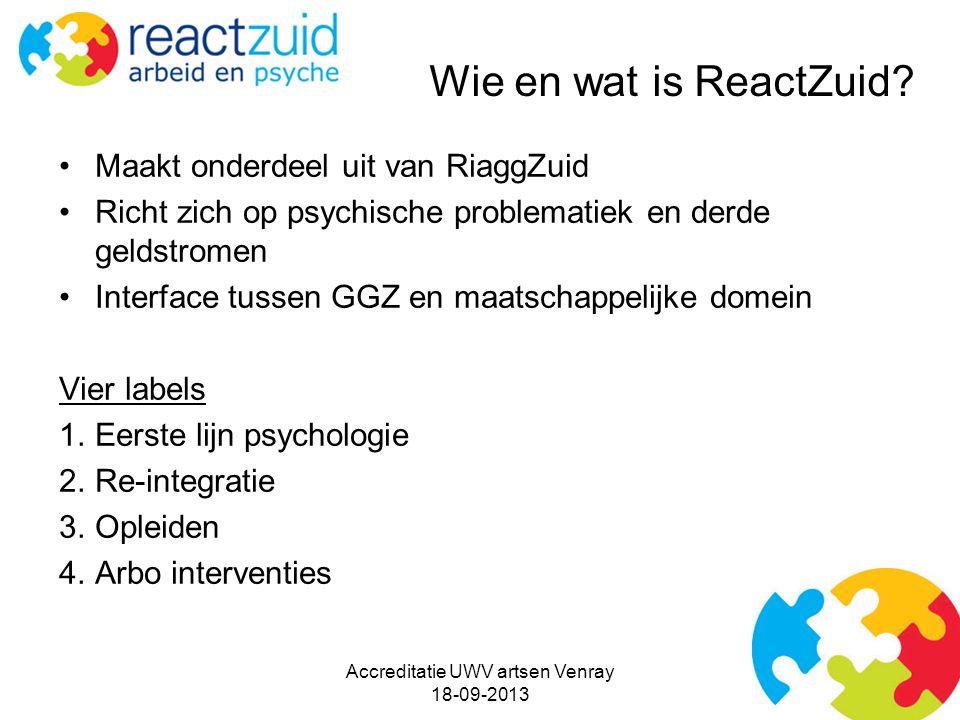 Maakt onderdeel uit van RiaggZuid Richt zich op psychische problematiek en derde geldstromen Interface tussen GGZ en maatschappelijke domein Vier labels 1.Eerste lijn psychologie 2.Re-integratie 3.Opleiden 4.Arbo interventies Accreditatie UWV artsen Venray 18-09-2013 Wie en wat is ReactZuid?