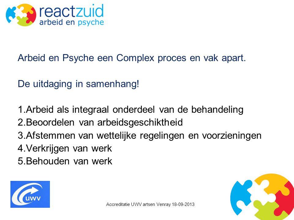 Accreditatie UWV artsen Venray 18-09-2013 Arbeid en Psyche een Complex proces en vak apart. De uitdaging in samenhang! 1.Arbeid als integraal onderdee
