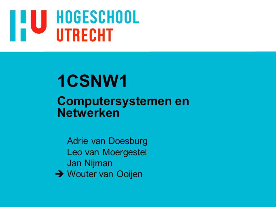 1CSNW1 Computersystemen en Netwerken Adrie van Doesburg Leo van Moergestel Jan Nijman  Wouter van Ooijen