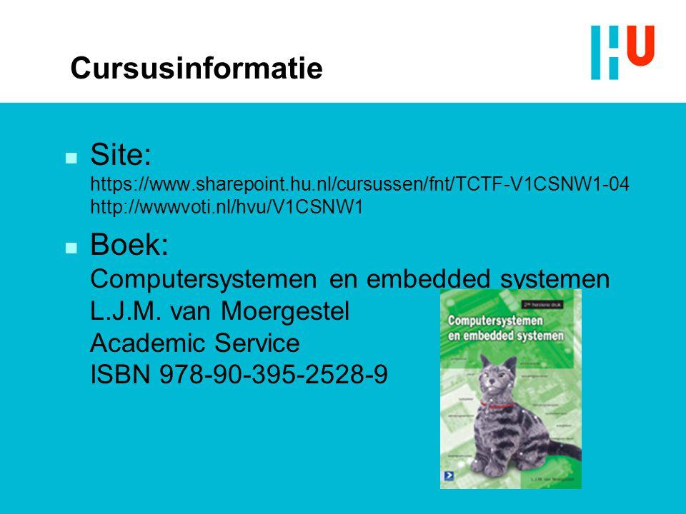 Cursusinformatie n Site: https://www.sharepoint.hu.nl/cursussen/fnt/TCTF-V1CSNW1-04 http://wwwvoti.nl/hvu/V1CSNW1 n Boek: Computersystemen en embedded