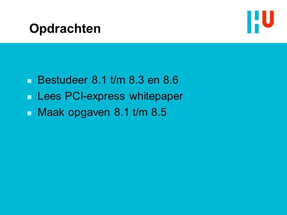 Opdrachten n Bestudeer 8.1 t/m 8.3 en 8.6 n Lees PCI-express whitepaper n Maak opgaven 8.1 t/m 8.5