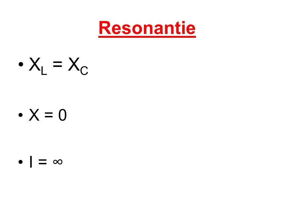 Resonantie X L = X C X = 0 I = ∞