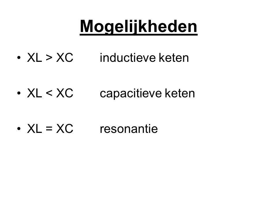Mogelijkheden XL > XCinductieve keten XL < XCcapacitieve keten XL = XCresonantie