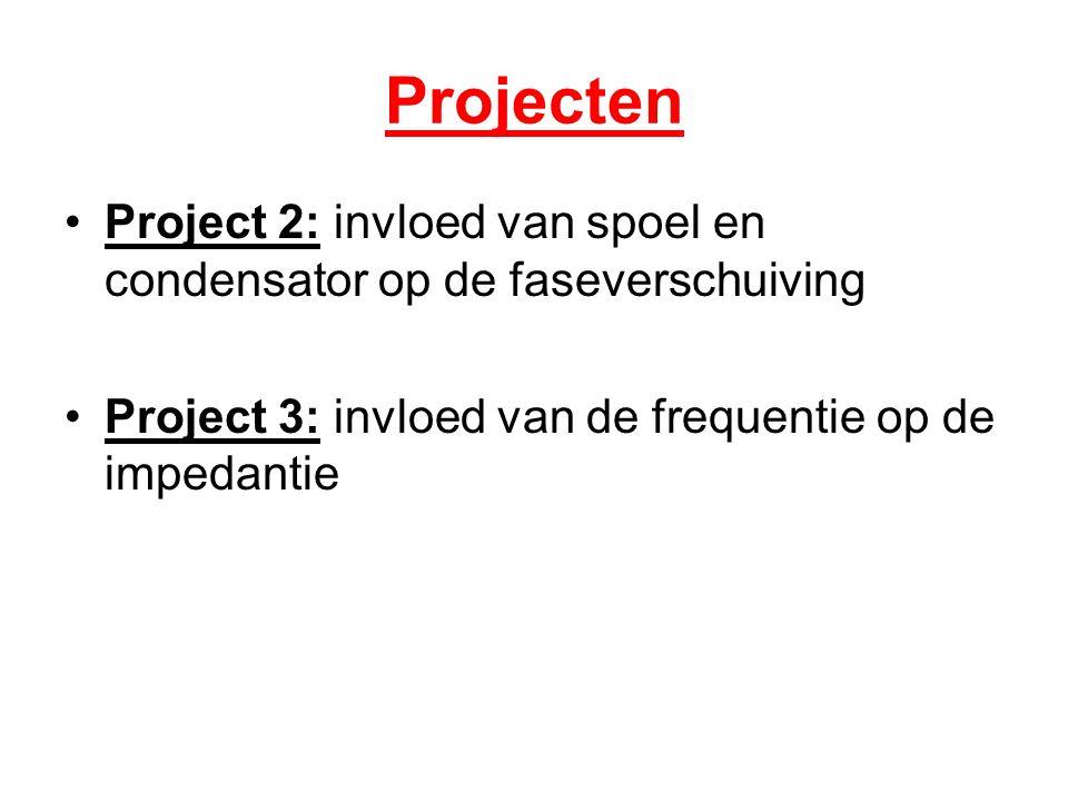 Projecten Project 2: invloed van spoel en condensator op de faseverschuiving Project 3: invloed van de frequentie op de impedantie