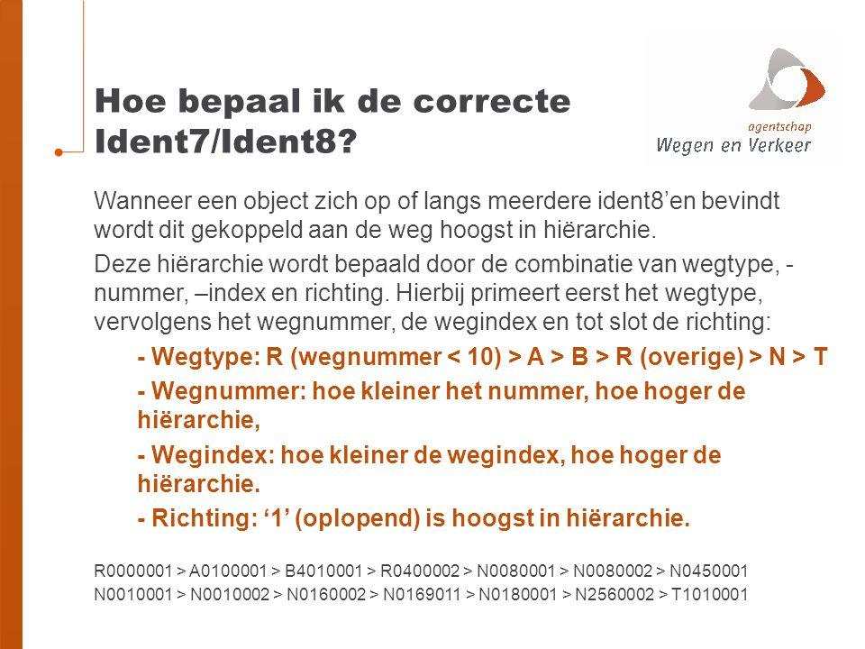 Hoe bepaal ik de correcte Ident7/Ident8? Wanneer een object zich op of langs meerdere ident8'en bevindt wordt dit gekoppeld aan de weg hoogst in hiëra